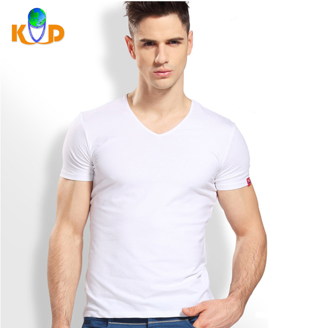 Cheap Prices Best Quality Wholesale Sports Spandex Fit V Neck White T Shirt for Men
