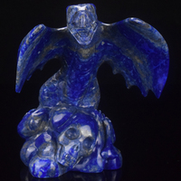 "wholesale 5"" natural carved lapis lazuli dragon carving craft, animals carving craft"