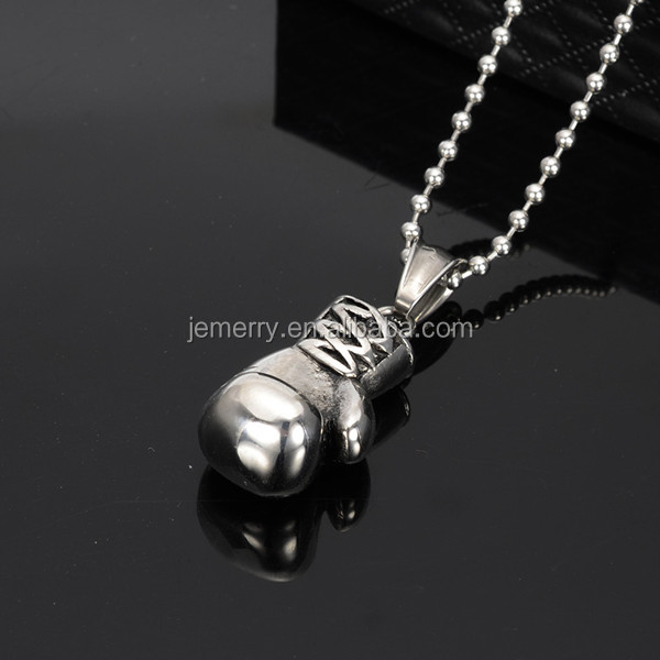 2016 Rocky Fashion Silver Boxing Glove Necklace Jewelry Stainless Steel Cool Pendant Necklaces for Men Boy Gift Accessories