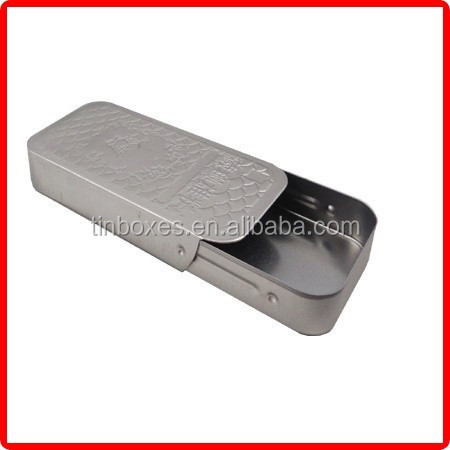 rectangular metal custom wholesale sliding business card tin box
