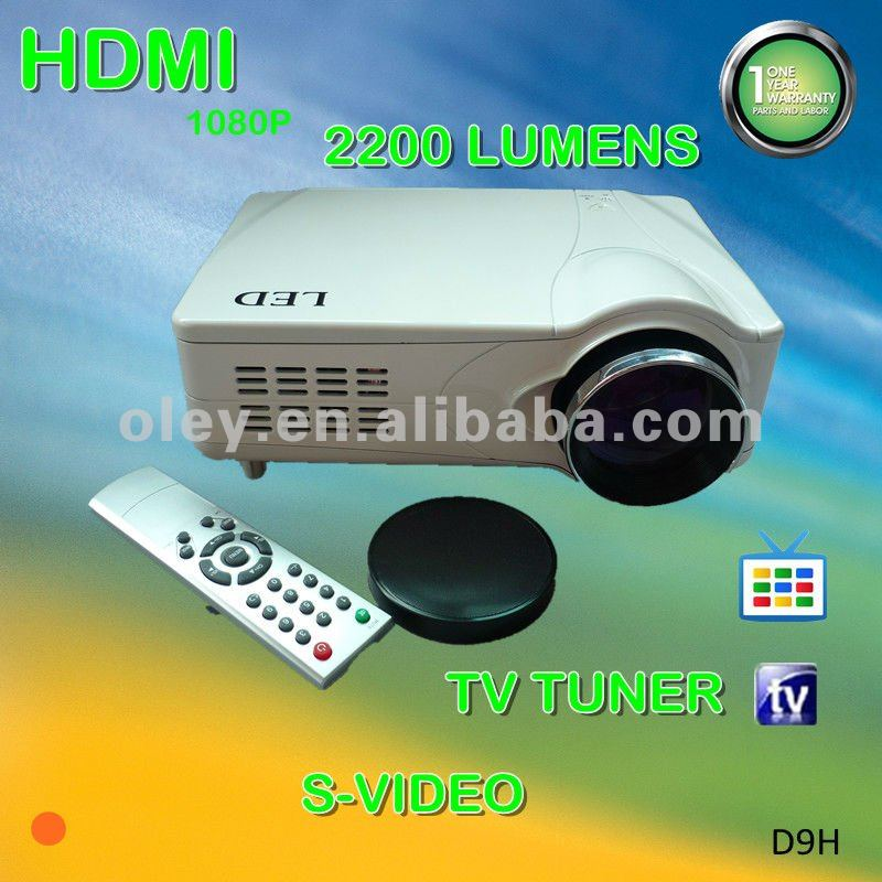 low cost cheap hd projectors 1080p built in tv tuner, work with pc, laptop, wii, ps3 and etc