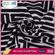 Wholesale different design black and white striped fabric printed cotton knit fabric