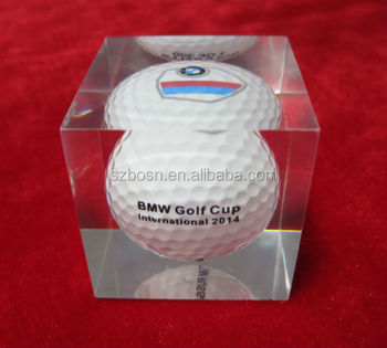 Resin Paper weight with Golf Ball inside, Acrylic Block with Golf Ball Inside, Paper Weight