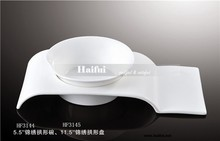 High quality ceramic arch-Shaped display plate with soup bowl