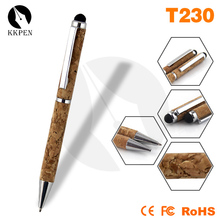 Shibell Wood Pattern laptop leather resistive Stylus Pen with twist ball pen