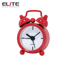 "wholesale 1.5"" small battery operated time quartz metal twin bell mini alarm clock"