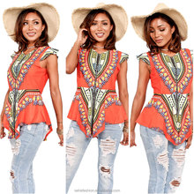 latest african dashiki clothes cap sleeve women blouses