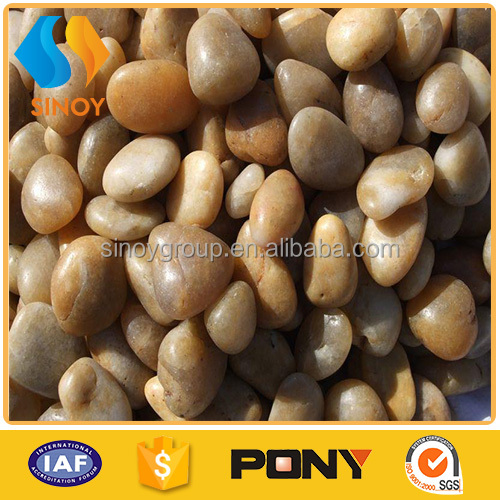 Home decorative yellow natural garden marble pebbles
