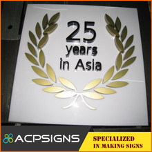 Health medical metal letters 3d letters sign polished stainless steel signage / rubber hydraulic platen press machine