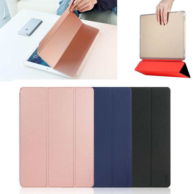 ROCK Ultra Slim Soft High Quality PU+PC Leather Transparent Smart Cover Case Cover Stand for iPad Pro 12.9