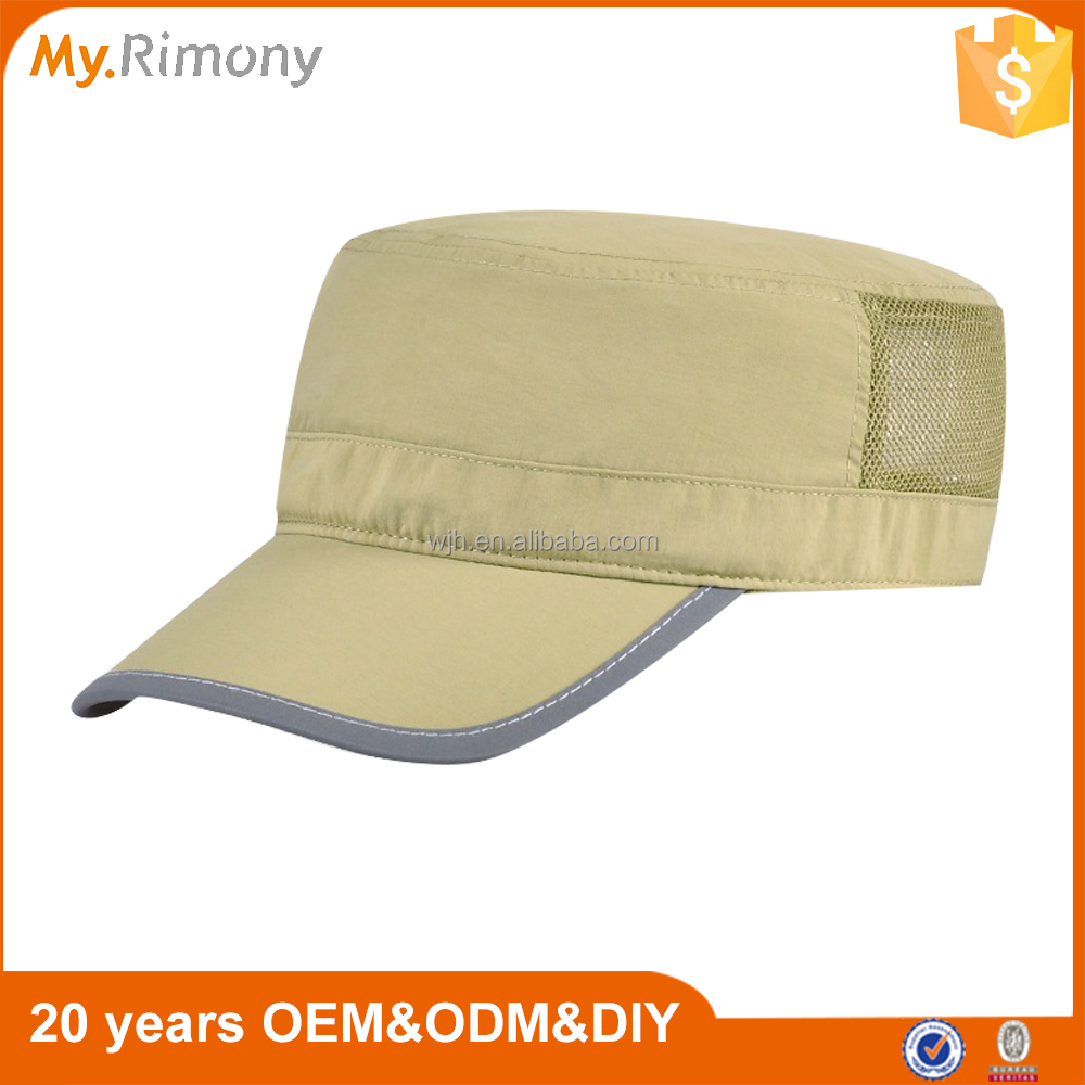 Custom Cotton Mesh Blank Plain Flat Top Military Mens Cap Hat