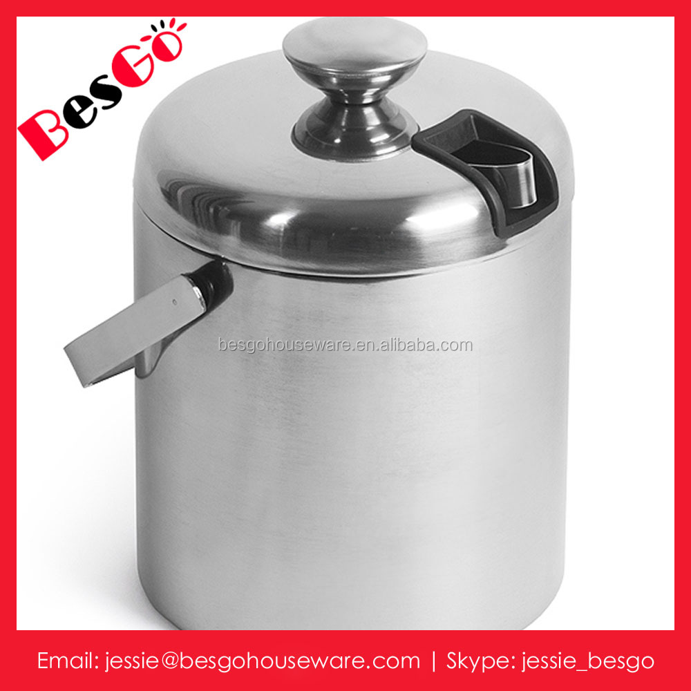 Bar accessories Stainless steel ice bucket with double wall construction and inside cover