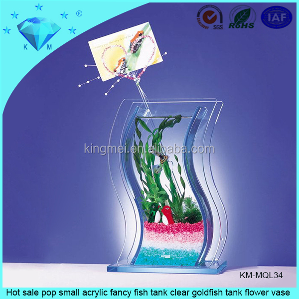 Hot sale pop small acrylic fancy fish tank clear goldfish tank flower vase