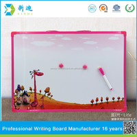 pink frame magnetic whiteboard stick on fridge for kids