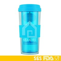 16oz double wall plastic travel mug with french press