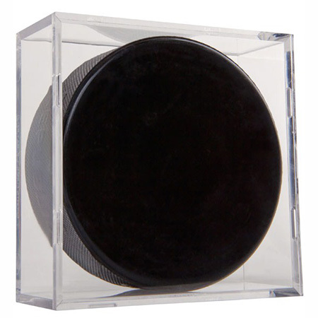 Clear Acrylic Plastic Hockey Puck Display Case, Lucite Ball Box