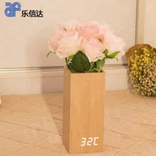 Beautiful home decorative wooden digital led clock with flowerpot