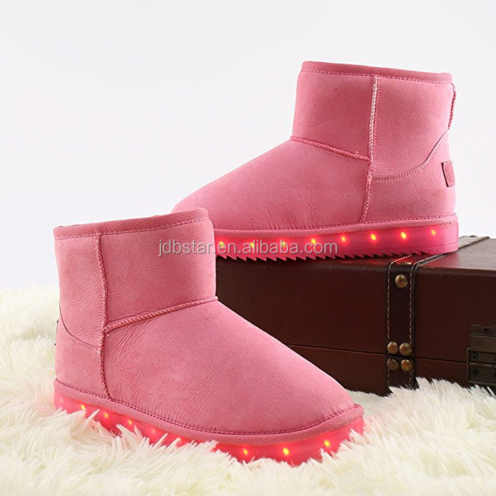 Wholesale Kids Girls Winter Shoes Led Snow Boots Light Up