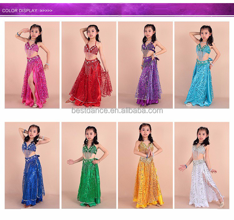 BestDance Kids Girls Belly Dance Set Outfit sequins Bollywood Blley Dance Costume for Girls