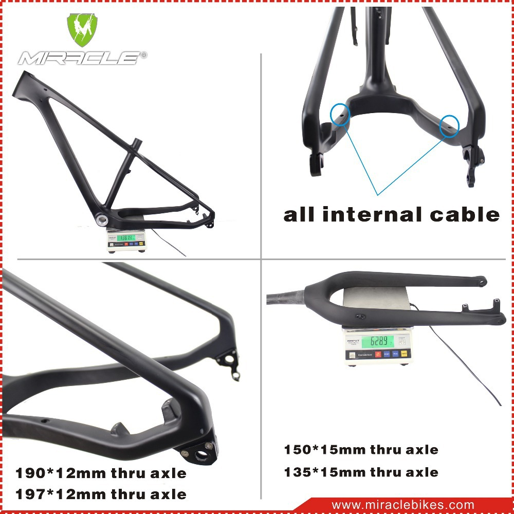 Chinese factory price carbon fatbike frame rear space 190mm carbon bike fat frame thru axle with fork UD matte