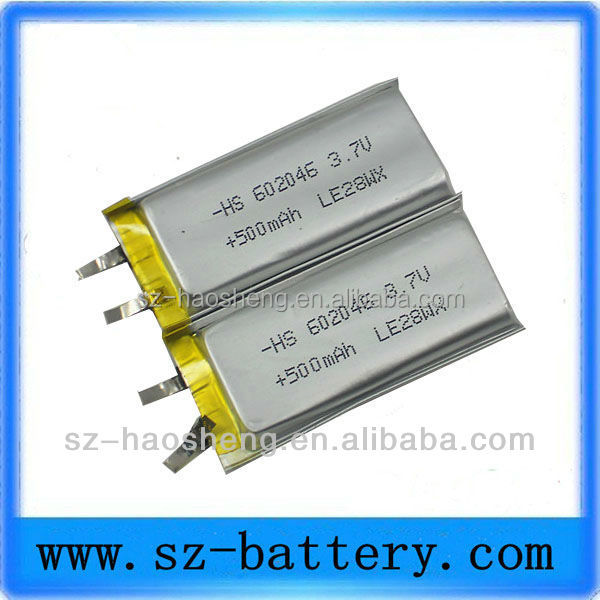 Small li battery 602046 3.7v 500mah gps battery for gps