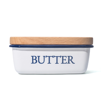Rectangular Shape  Deep Enamel Butter Dish with lid