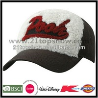 Cotton and wool 6 panels applique velcro adjuster baseball cap