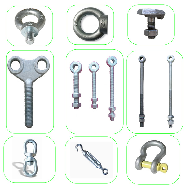 Adjustable gate eye bolt with 2 nuts