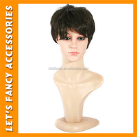 PGWG1893 High Quality Men Halloween Party Wigs Short Black Wig With Bangs