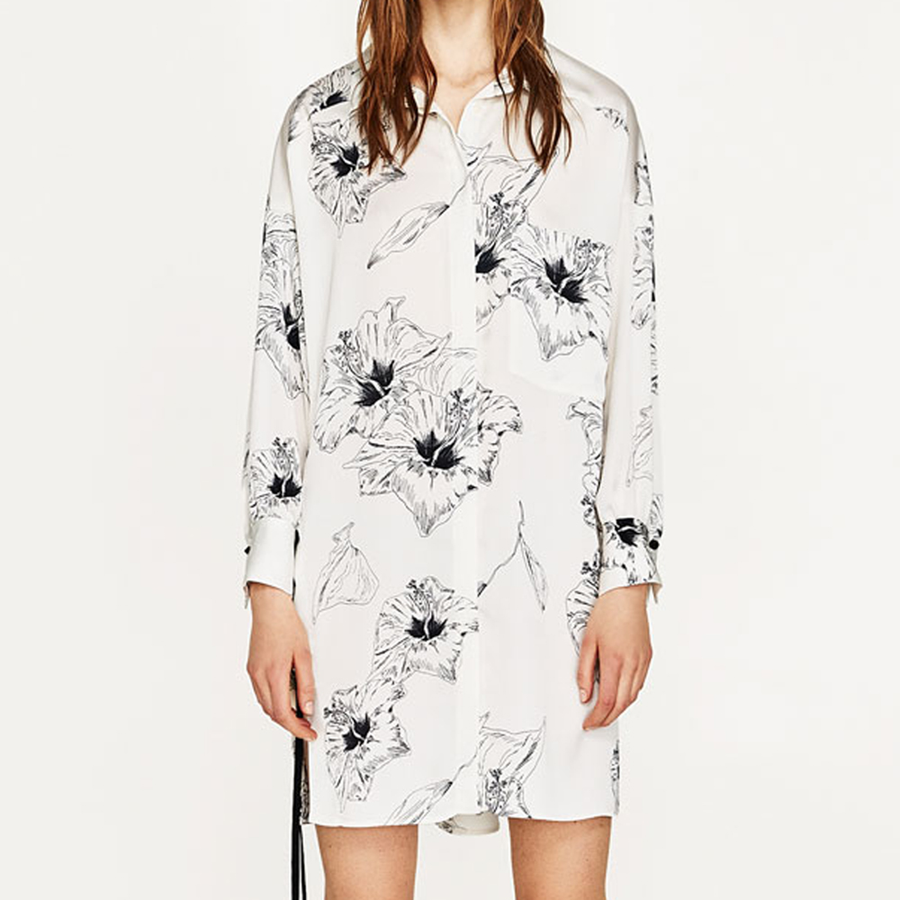 floral printed grommets at side loose tunic summer dresses