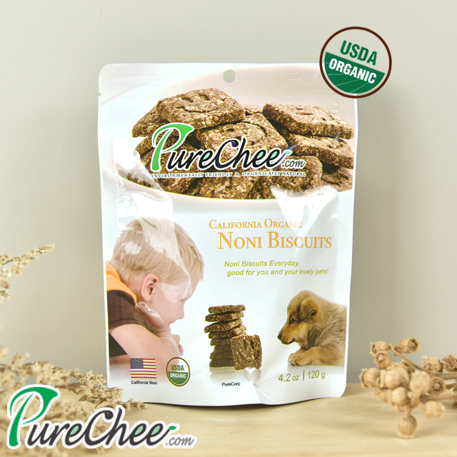 Natural USDA Organic Noni Biscuits with noni powder, oats, egg, and coconut Oil