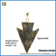 New fashion arrow shape single big natural raw stone pendant for making necklace