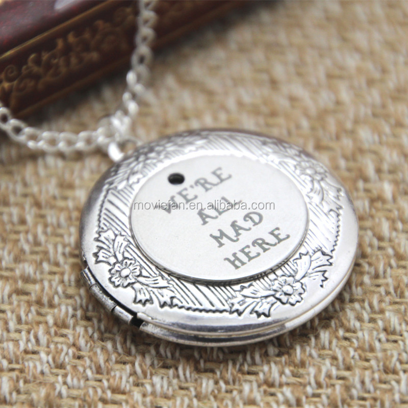 alice in wonderland locket necklace We're all mad here necklace silver tone locket jewelry