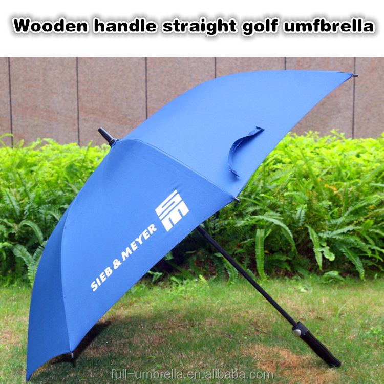 2017 new products quality chinese wooden handle golf umbrella with custom logo print