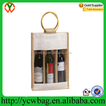 Holiday Gift bags 3 Bottle Wine Carry Bag Jute Eco-friendly Wine Tote