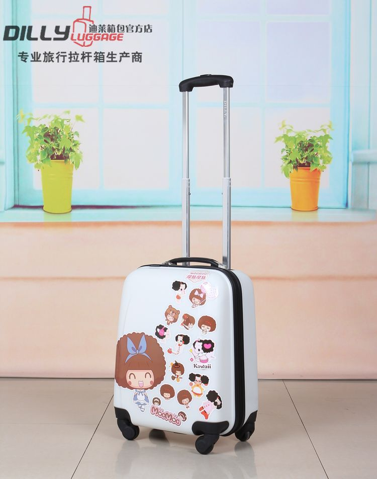 Fashion printing abs and pc mini trolley suitcase