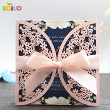 free logo high quality customizable paper Eco-friendly laser cut butterfly arabic wedding invitation cards