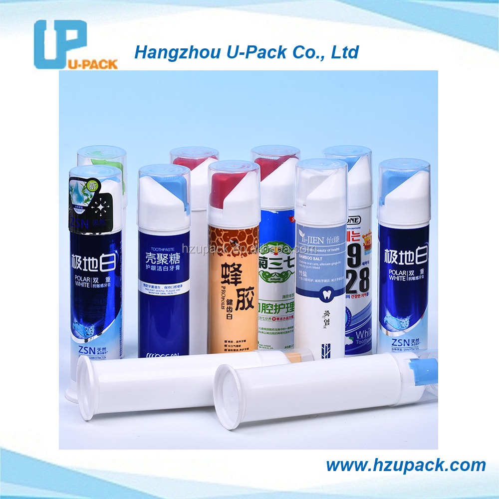 Airless pump toothpaste dispenser tube by GMP standard plant with super offset printing