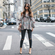 Simplee 2017 print chiffon womens crop tops off shoulder female blouse shirt with Sexy flower print