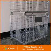 ACEALLY wire mesh security cage, pallet container, mesh box pallet for industrial storage
