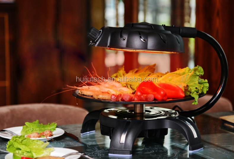 hot selling1.3KW temperature controlled electric infrared bbq grill HJ-BBQ001