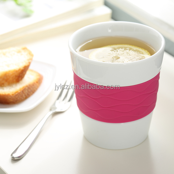 280cc sample free porcelain coffee mug silicone band