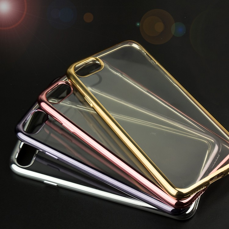2017 Wholesale Electroplating Clear Transparent TPU Soft Phone Cases For iPhone 7 Plus