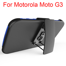 For Motorola Moto G3 TPU PC Rugged Holster Case With Kickstand