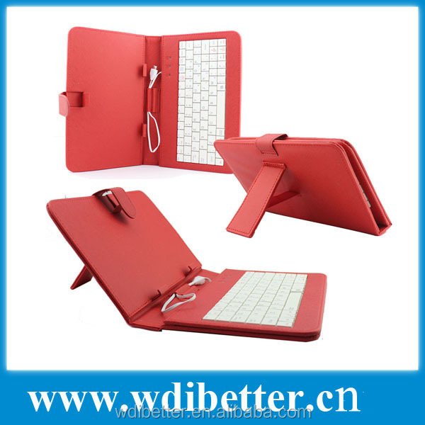 Universal Colorful 7 Inch PU Leather Case With USB Keyboard Stand
