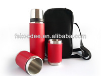 stainless steel water Thermos Flask set ,Vacuum Flask bottle set with pu coating with two cup and bag set