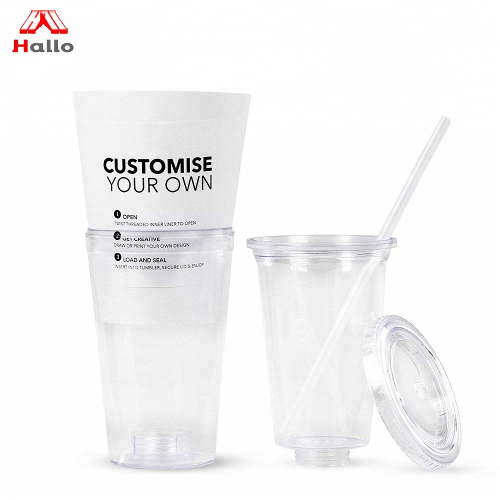 Cold Keeper Double Wall Plastic Tumbler Mug <strong>Cups</strong> With Straw