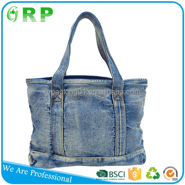 Suit for young people shopping outdoor canvas shoulder denim bag