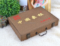Golden pattern Embroidery leather chinese wooden chess box, chess case