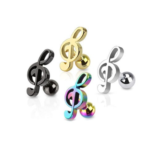 Wholesale treble clef ear trgus piercing jewelry for gilrs